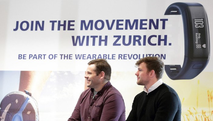 Jordi Murphy and Mike Ross at the launch of Zurich's wearable technology pilot