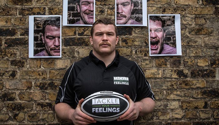 Jack McGrath promoting Rugby Players Ireland and Zurich's Tackle Your Feelings campaign