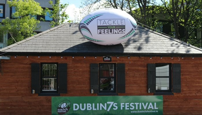 Tackle Your Feelings rugby ball on top of Lock 6 Cafe