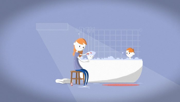Animation of a mother washing her two children in the bath