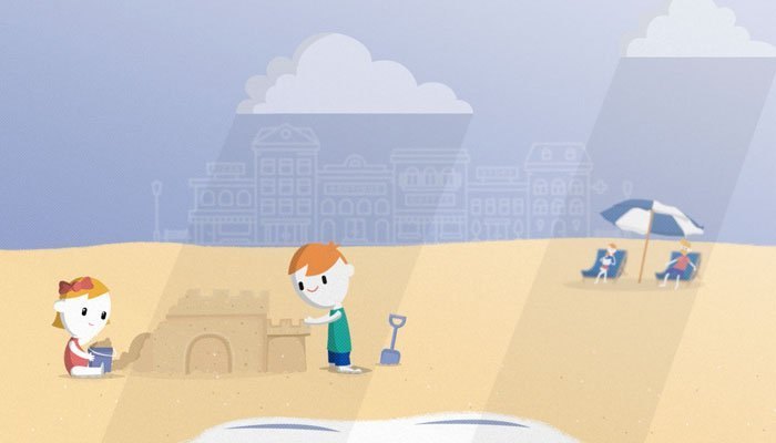 Animation of children building sandcastles at the beach