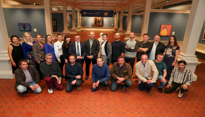 Group photo of the shortlisted artists in the Zurich Portrait Prize at the National Gallery