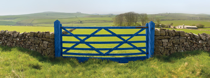 blue farm gate