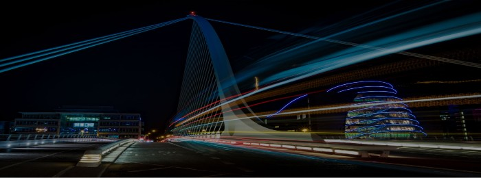 Futuristic image of Samuel Beckett Bridge in Dublin