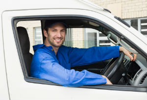 van driver in blue shirt